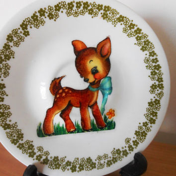 OOAK Upcycled Plate- Bone China- Vintage Deer Fawn Bambi- Valentine Mothers Day Gift- Retro Kitsch- Milk Glass- American Corelle by Corning