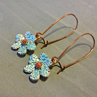 Blue Flower Dangle Earring, Boho Earring, Bohemian Jewelry, Kidney Ear Wires, Lead and Cadmium Free, Red Copper Earring, 14mm, 33mm long