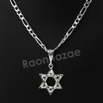 .925 Italian Sterling Silver SIX point STAR OF DAVID Pendant 5mm Figaro Necklace