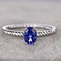 1.05ct Oval Blue Tanzanite Engagement Ring Diamond Wedding Ring 14K White Gold Filigree Style