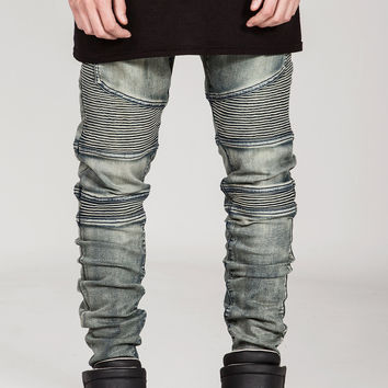 Sand-wash Biker Denim