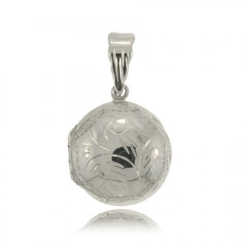 Picture Locket Sterling Silver Pendant Round Engraved