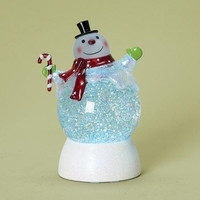 2 Led Snowman Snow Globes - These Jolly Snowmen Have Frosted Faces And Feature A Color Changing Interior Led Light