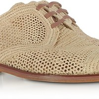 Robert Clergerie Jaly Natural Woven Raffia Flat Mules