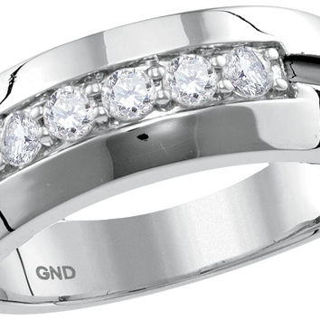 10kt White Gold Mens Round Diamond Wedding Black Groove Band Ring 1/2 Cttw 116185