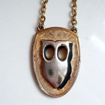 Vintage Owl Necklace Bi-Metal and Black Enamel Shield Design by JJ