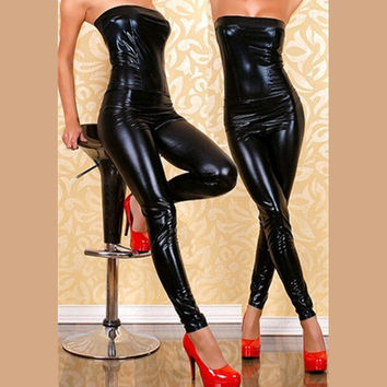 New Fashion 2016 Faux Leather Bodysuit Sexy Sleeveless PVC Costume Strapless WetLook Game Dance Clothing Drop Shipping Jumpsuits