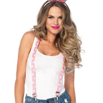 ESBI7E 3PC.Sparkle Bunny Kit,suspenders,bow/tail,sequin ear headband in PINK