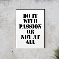 "Typography Poster Fitness Quote ""Do It With Passion Or Not At All"" Inspirational Poster Office Art Gym Decor Wall Decor Scandinavian Print"
