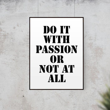 """Typography Poster Fitness Quote """"Do It With Passion Or Not At All"""" Inspirational Poster Office Art Gym Decor Wall Decor Scandinavian Print"""