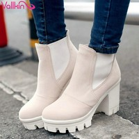 Ankle High Thick Round Toe Thick Medium High Heels Women's Winter Boots