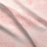 Rose quartz and white swirls doodles fabric - savousepate - Spoonflower
