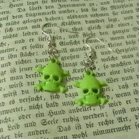 Lime Green Skull Dangle Earrings - You Choose With Silver Or Gold Plated Earring Findings