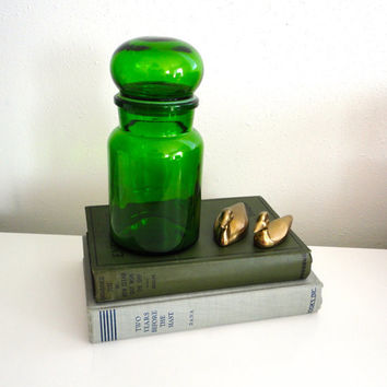 Large Apothecary Glass Jar Bottle with Bubble Lid Made in Belgium In Green