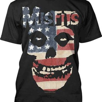 The Misfits – American Flag Skull Print Men's Tee In Black/Red/White/Blue | Thirteen Vintage