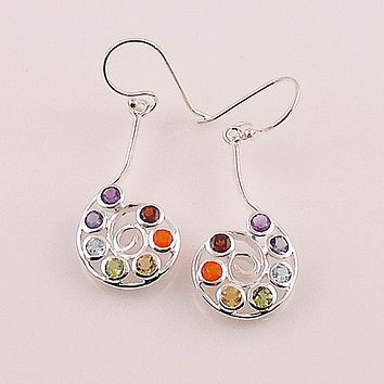 Chakra Spiral Sterling Silver Earrings