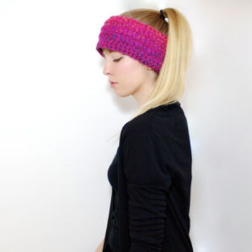"The ""Montana"" Crochet Winter Ear Warmer - Pink Multi - Custom Requests Accepted"