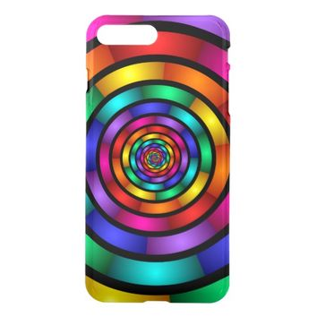 Round and Psychedelic Colorful Modern Fractal Art iPhone 8 Plus/7 Plus Case