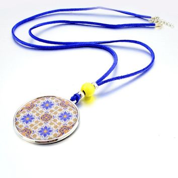 Bohemian Yellow Flower Silver Pendants Long Blue Leather Rope Chain Necklace Beads