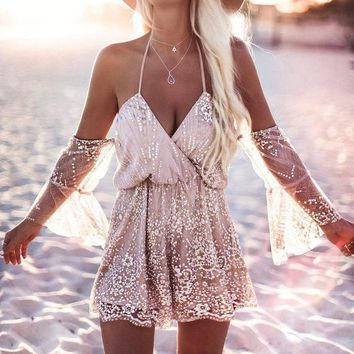 ESBC8S Gold Sequins Off Shoulder Party Romper with Flare Sleeve