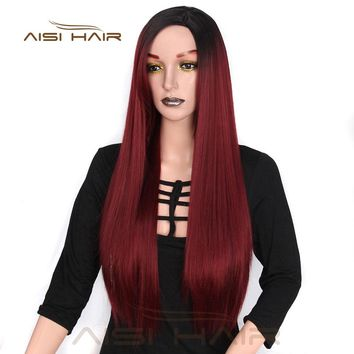 It's a wig  Long Ombre Red Straight Synthetic Wigs 24 inches for Women Black  Two Tone Heat Resistant Fiber Hair
