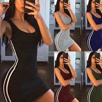 Sexy Stripes Splice Package Hip Sling Dress