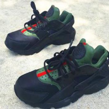 Nike Gucci Drops the Air Huarache Ultra Sports shoes Black&green H-AA-SDDSL-KHZHXMKH