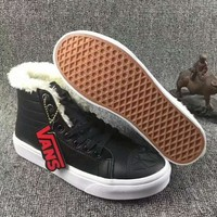 """VANS""SK8-HI Fashion Classic black cloth shoes authentic Thick shoes G-A-HRWM"