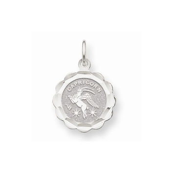 14k White Gold Satin Engraveable Capricorn Pendant