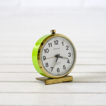 Small Vintage German Alarm Clock Lime Green and Gold