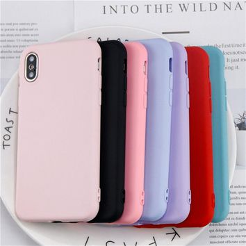 Fashion Simple Solid Color Phone Case For iphone X Case Cute Candy Color Back Cover For iphone X Case Original Soft TPU Coque
