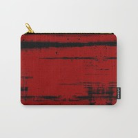 Black Grunge on Red Carry-All Pouch by gx9designs