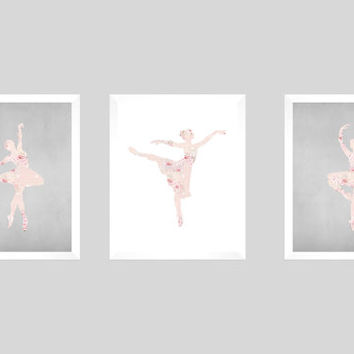 Ballet Ballerina Shabby Chic Pink Roses Gray Chalk CUSTOMIZE YOUR COLORS, 8x10 Prints, Nursery Decor Print Kids Art Baby Room Baby Girl
