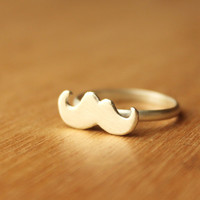 Mustache Ringsterling silver by mujoyas on Etsy