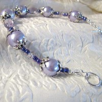 Lavender and Purple Bracelet with Glass Pearls