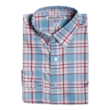 The Hadley Shirt in Light Blue and Red Plaid by Southern Point - FINAL SALE