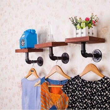Rustic Iron and Wood Wall Mount Wooden Board Floating Shelving