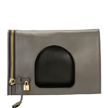 TOM FORD Alix Ombré Fold-Over Bag, Light Gray