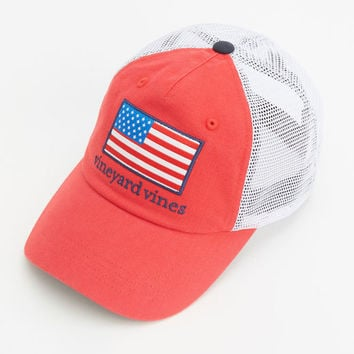 Shop American Flag Patch Trucker Hat at from vineyard vines 27a5f1a46f7