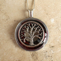 Tree of Life Necklace: Cranberry - Wiccan Pendant - Celtic Jewelry - Tree Jewelry - Mothers Day - Unique Jewelry - Washer Pendant