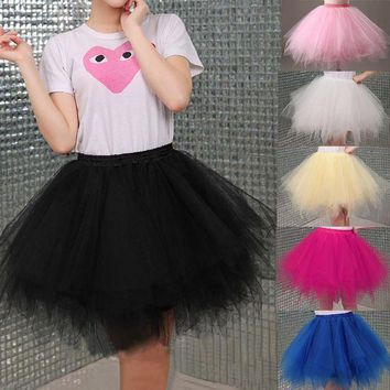 DKLW8 Tulle Skirts Womens High Quality Elastic Stretchy Tulle Teen Layers Summer Womens Adult Tutu Skirt  Pleated Mini Skirts
