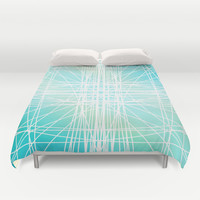 Linear Oceanblast Duvet Cover by Lisa Argyropoulos