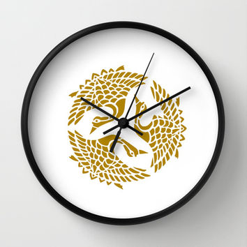 Golden Herons Wall Clock by LoRo  Art & Pictures
