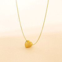 Gold Heart Necklace|Brushed Gold Heart Necklace |Fine Jewelry |Cute Pendant Necklace |Gift for Her |Puffy 3D Heart |Simple Jewelry |Vintage