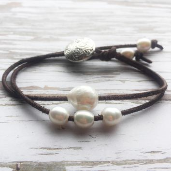Pearl and Leather Bracelet - Sliding Freshwater Pearls on Brown Leather with Silver Button Clasp