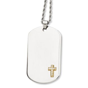 Stainless Steel 14k Gold w/Diamonds Cross Dog Tag Necklace