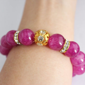 Violet hue stone beaded gold tribal bracelet, purple beaded bracelet, bracelet gift, festive gift, gift for her