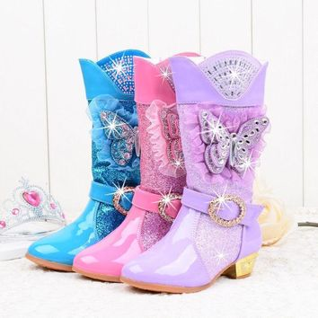 Cowgirl  Knee-High Glitter Sequins | Rhinestone Princess High-Heeled Boots | Butterfly Style | Pick your color