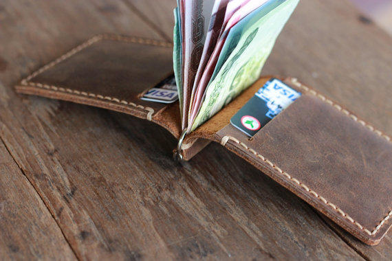 Leather Money Clip Wallet Distressed From Joojoobs On Etsy