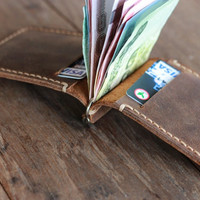 Leather Money Clip Wallet --- Distressed Leather Wallets for Men / Women's Wallets